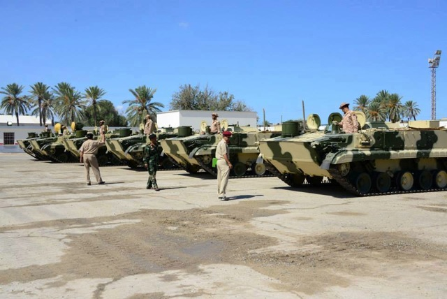 BMP3s being handed over the the Russians at Mitiga Airbase