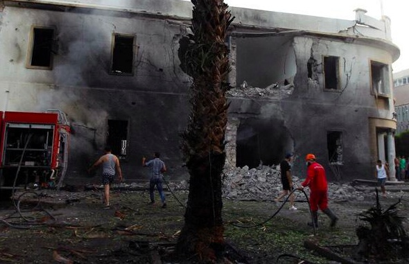 The blast blew apart the front of the Benghazi branch of the Ministry of Foreign Affairs