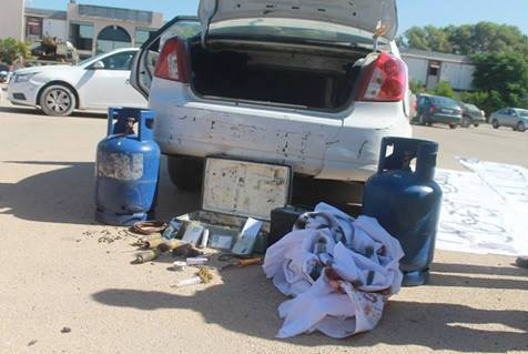 Gas containers and explosives found inside the car at Janzour