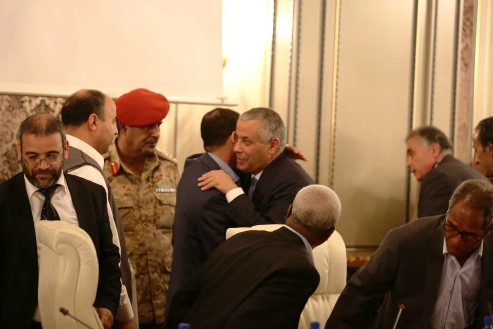 Ali Zeidan meeting with members of the government an other officials shortly after being rescued from his  kidnappers