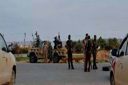 Military police believed to be at the roadblock to the west of Derna today