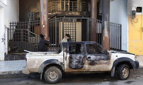 Remains of the burnt out truck outside Libya Al-Ahdar's offices. (Photo:Libya Al-Ahdar)