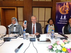 German ambassador Christian Much launches the first of 50,000 sms messages for Libyan women's (Photo: Sami Zaptia). rights
