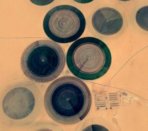 A satellite image of the agriculture project in Al Kufra, functioning thanks to the fossil water resources available in the desert area. These resources which were discovered since the mid-1960s, are now being tapped not only for agriculture purposes but also are part of the Man-Made River, where water is piped toward the coastal towns and cities in the north.