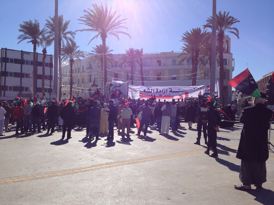 Protesters gathering in Martyrs Square this afternoon (Photo: Tom Westcott)
