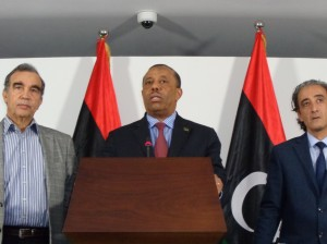 Caretaker Prime Minister Abdullah Thinni said he considered his government as a caretaker government at his first press conference today (Photo: Sami Zaptia).