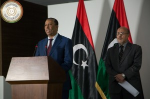 Caretaker Prime Minister Abdullah Thinni at Wednesday night's press conference during which he announced his refusal to handover power to Prime Minister-elect Ahmed Maetig until the courts adjudicate on the matter (Photo: PM Media office).