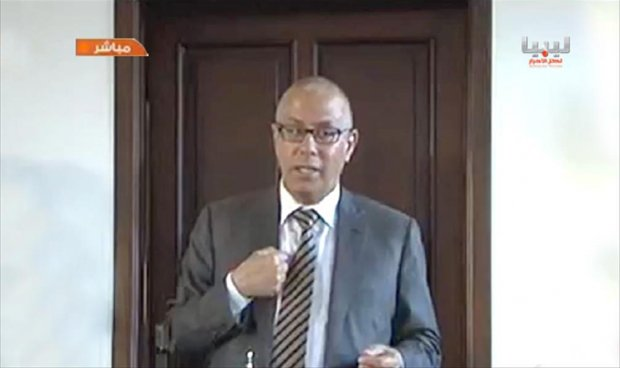 Former Prime Minister Ali Zeidan on TV in Beida today (Photo: TV grab)