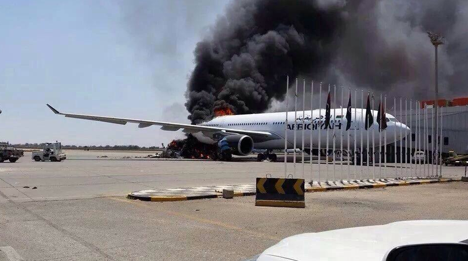 Picture of an Afriqiiyah Airbus in fames (Photo: Social media)