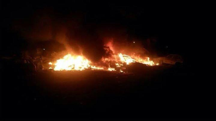 Fires blaze in Ghot Shaal where the worst of last night's shelling took place (Photo: Social Media)