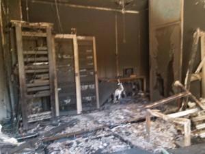 Al-Assema TV studios in Tripoli were ransacked again allegedly by Islamist militias (Photo: Al-Assema TV).