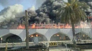 Tripoli International Airport in flames in the summer of 2014 after it was destroyed by militia fighting (Photo: Social media).