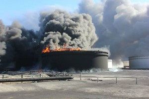 The fire at the Sidra oil storage tankers led to great losses and damage says the report (Photo: Sirte Oil Company)
