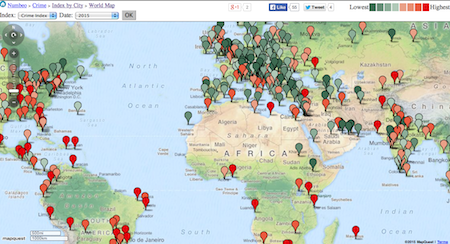 Map showing world's most violent cities (Photo: Numbeo website)