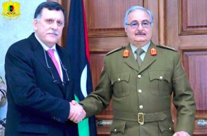 Serraj and Hafter pose for the camera in Marj in January (Photo: Libyan Army)