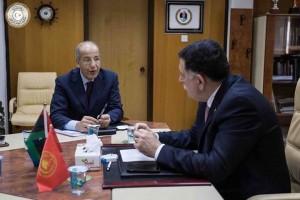 Tripoli CBL Governor Sadik Kabir in a meeting with Faiez Serraj in Tripoli in April (Archive Photo: CBL).