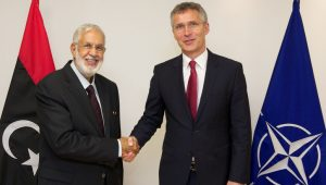 NATO Secretary General Jens Stoltenberg meets with the Minister of Foreign Affairs of Libya, Mohamed Taha Siala