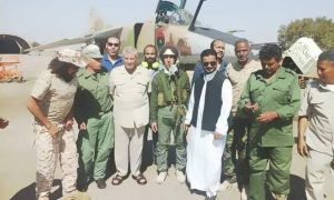 Major Obeidi with Al-Hassi on his right just before his fatal flight (Photo: social media)