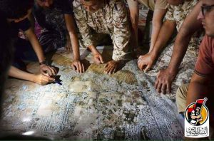 "A command meeting ahead of the ""final assault"" of IS in Sirte (Photo: Bunyan Marsous)"