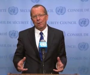 UNSMIL's Kobler talks to reporters at the UN today (Photo: UN)