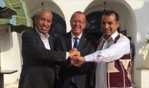 All smiles yesterday when the Misratan-Taweghan deal was signed  (Photo: UNSMIL)