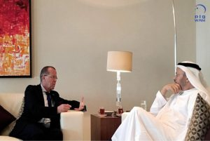 UN Envoy Martin Kobler yesterday with UAE Foreign Minister Gargash