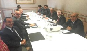 NOC boss Sanallah (2nd R) with Total executives in Paris (Photo: Total)