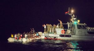 A shot taken of the Libyan vessel after the migrant boat is boarded (Photo:Sea-Watch)