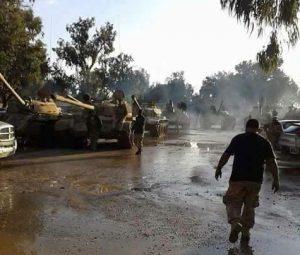 Tanks advance into Ganfouda this morning (Photo: social media)