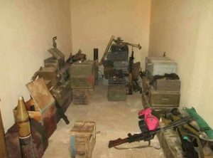 a storeroom said to shown captured terrorist weaponry (Photo: social media)