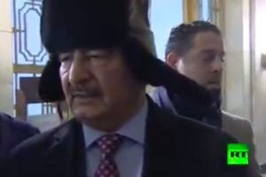 Hafter at Russian foreign ministry today (Screengrab: RA)
