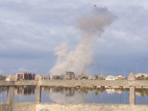 LNA air strike on militants in Souq Al-Hout (Photo: Social media)