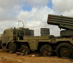 Grad missile launcher captured today in Ganfouda (Photo: social media)
