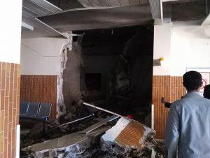 Bomb damage in the BMC A&E reception today (Photo: social media)