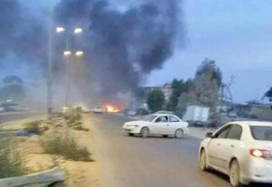 What is said to be the first car bomb near the Saiqa HQ (Photo: social media)