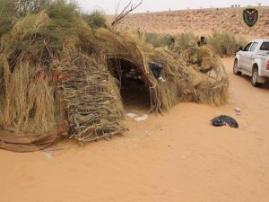 Shelter built of natural materials in one of the camps (Photo: social media)