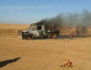 A picture said to show a destroyed terrorist vehicle near Suluq (Photo: social media)