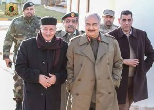 Ageela Saleh and Khalifa Hafter in Marj yesterday