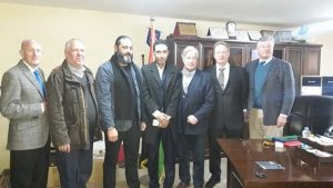 British business delgation led by Meter Meyer (3rd right) meets with Benghazi Security Director Saleh Hweidi (3rd left)