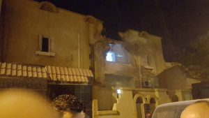 Purported photo of a Janzour house hit by shelling today (Photo: Social media)