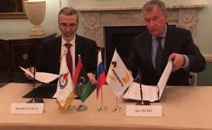 Mustafa Sanalla with Rosneft chief Igor Sechin (Photo: NOC)