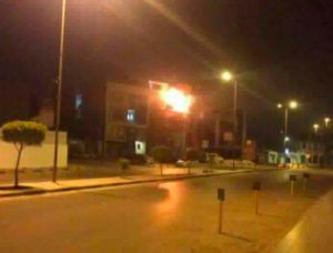 Al-Nabaa TV building on fire last night (Photo: social media)