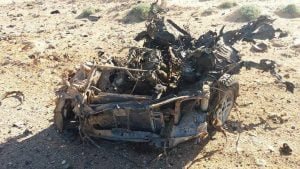 Mangled remains said to be from today's battle (Photo: social media)