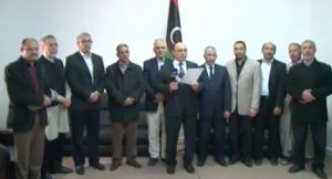 Misrata mayor Mohamed Ishtewi condemns last night's militia attacks (Photo: Misrata TV)