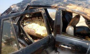 The damaged car bomb near Nofliyah (Photo: social media)