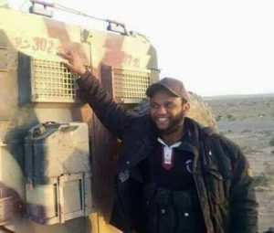 Ajdabiya Islamist leader Osama Jadhran by an armoured vehicle (Photo: social media)