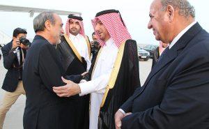 Sewehli greeted at Doha airport by Qatari officials (Photo: Qatar gov)