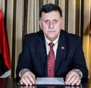 A tired and tense-looking Faiez Serraj on TV today (Photo: social media)