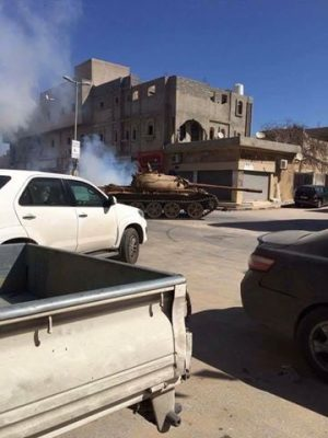 Tanks are reported in the streets of Ghut Shaal and elsewhere in west Tripoli (Photo: Social media)