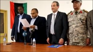 "The Minister of Defense, ""Mahdi Barghouthi"" and the commander of oil installations guards, ""Idris Abuhmada"" announce from the # the resumption of the operation of the oil field # Elephant, and the agreement on the formation (the development of the Merzk Basin) and promises to meet the requirements of protesters in the region."